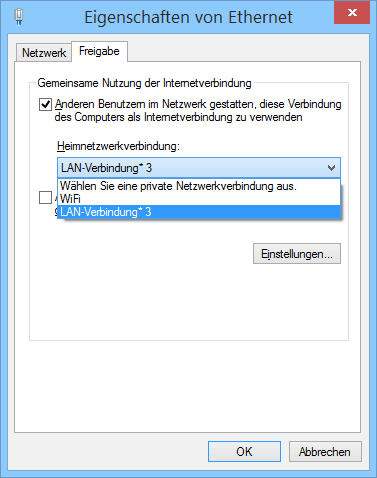 Internet Freigabe Windows 8.1